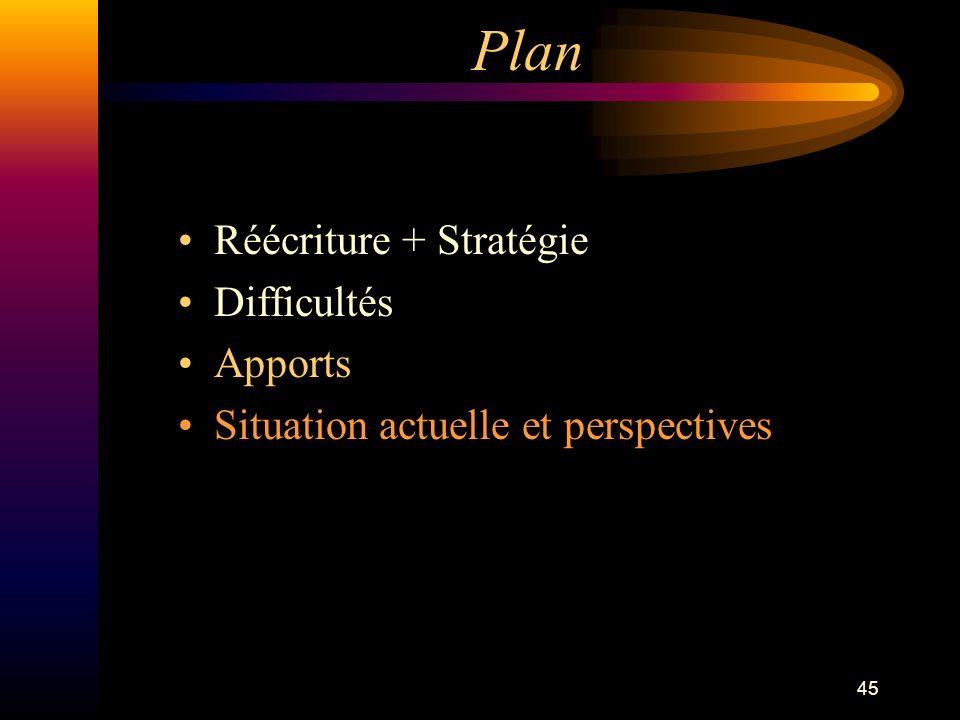 45 Plan Réécriture + Stratégie Difficultés Apports Situation actuelle et perspectives