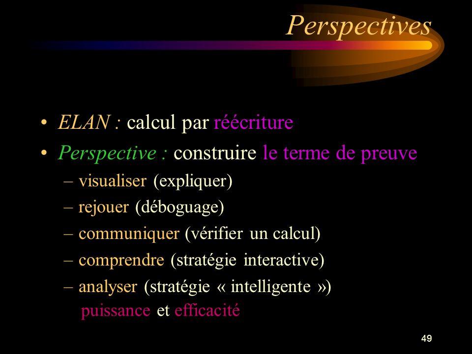 49 Perspectives ELAN : calcul par réécriture Perspective : construire le terme de preuve –visualiser (expliquer) –rejouer (déboguage) –communiquer (vérifier un calcul) –comprendre (stratégie interactive) –analyser (stratégie « intelligente ») puissance et efficacité