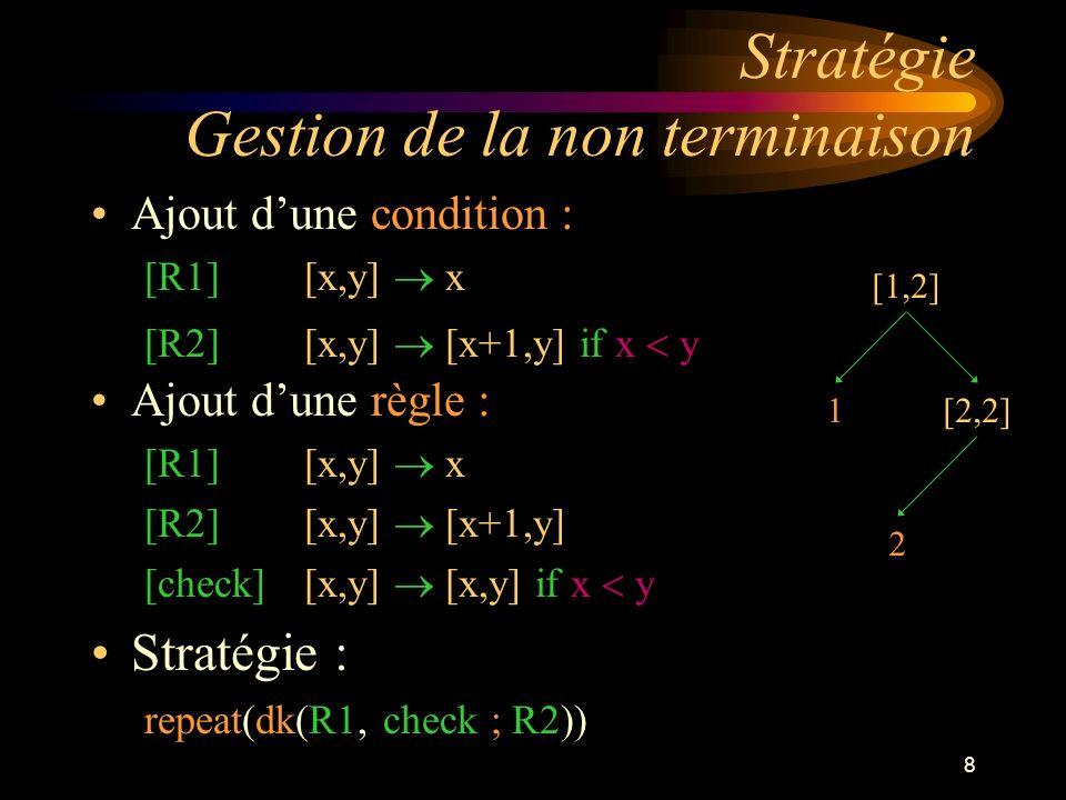 8 Stratégie Gestion de la non terminaison Ajout dune condition : [R1] [x,y] x [R2] [x,y] [x+1,y] if x y [1,2] 1[2,2] 2 Ajout dune règle : [R1] [x,y] x [R2] [x,y] [x+1,y] [check] [x,y] [x,y] if x y Stratégie : repeat(dk(R1, check ; R2))