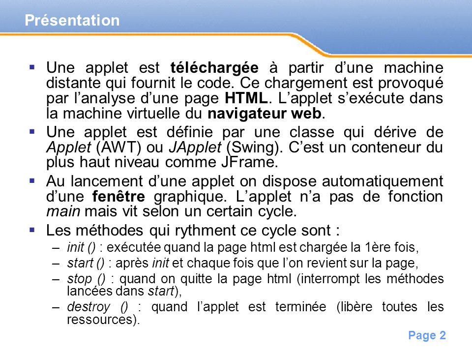 Page 2 Présentation Une applet est téléchargée à partir dune machine distante qui fournit le code.