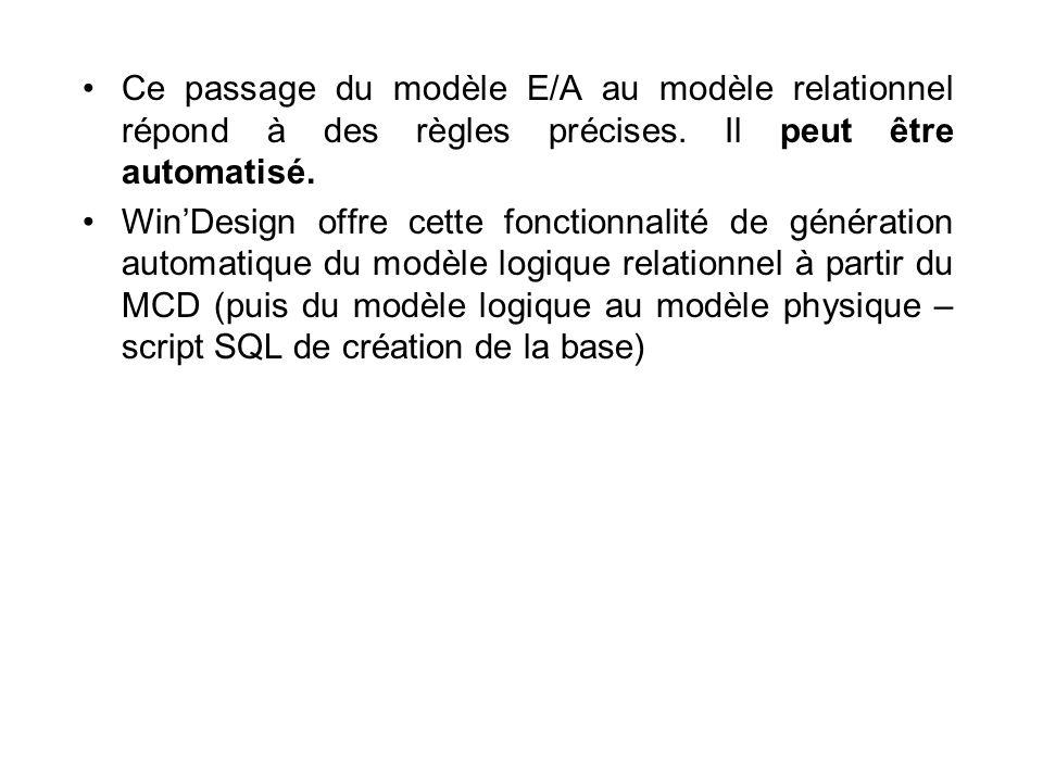 Ce passage du modèle E/A au modèle relationnel répond à des règles précises. Il peut être automatisé. WinDesign offre cette fonctionnalité de générati