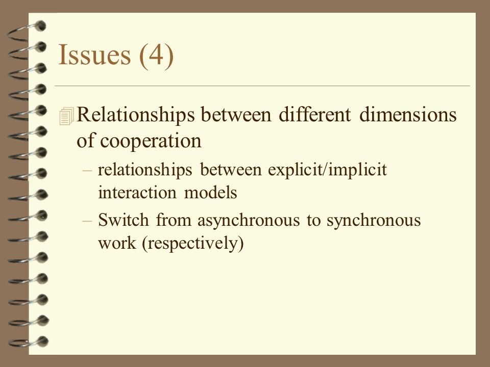 Issues (4) 4 Relationships between different dimensions of cooperation –relationships between explicit/implicit interaction models –Switch from asynchronous to synchronous work (respectively)