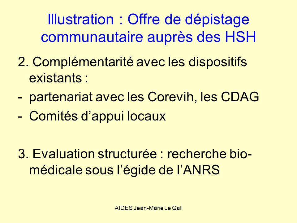 Illustration : Offre de dépistage communautaire auprès des HSH 2. Complémentarité avec les dispositifs existants : -partenariat avec les Corevih, les