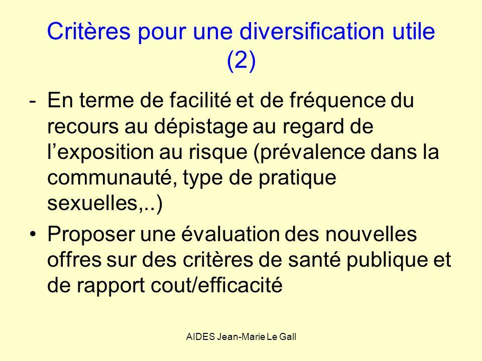 Critères pour une diversification utile (2) -En terme de facilité et de fréquence du recours au dépistage au regard de lexposition au risque (prévalen