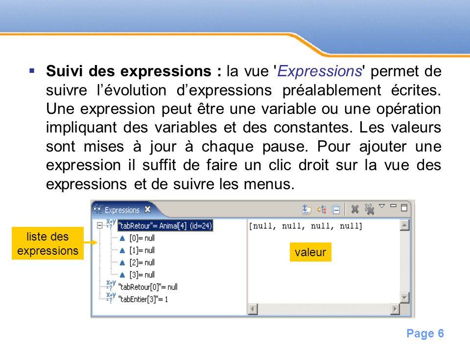 Page 7 Contenu de la mémoire : La vue Variable permet de vérifier le contenu de la mémoire.
