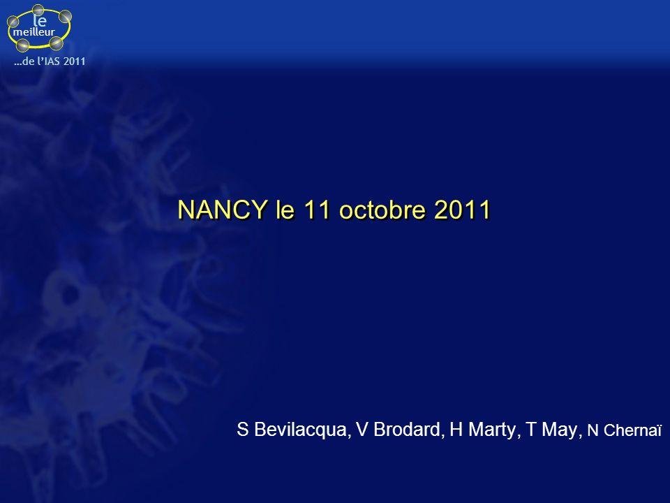 le meilleur …de lIAS 2011 Essai 183-0145 : EVG versus RAL, en association avec IP/r et un 3 ème agent chez des patients pré-traités Résultats à S48 (2) Molina JM, IAS 2011, Abs.