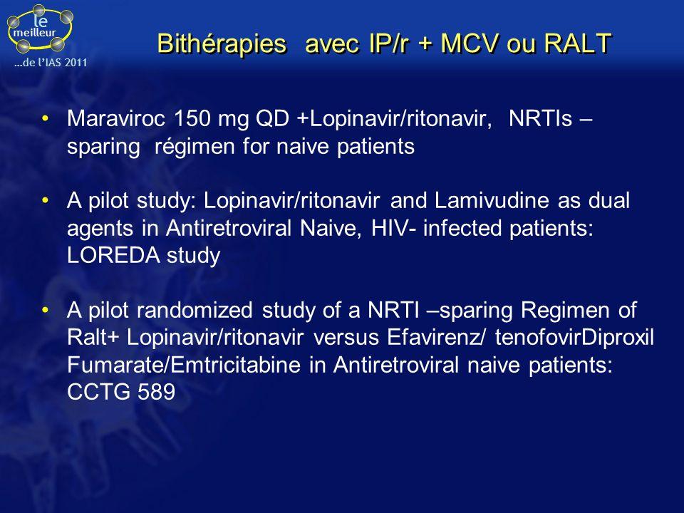 le meilleur …de lIAS 2011 Bithérapies avec IP/r + MCV ou RALT Maraviroc 150 mg QD +Lopinavir/ritonavir, NRTIs – sparing régimen for naive patients A p