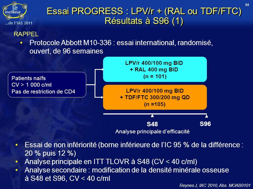 le meilleur …de lIAS 2011 Essai PROGRESS : LPV/r + (RAL ou TDF/FTC) Résultats à S96 (1) Protocole Abbott M10-336 : essai international, randomisé, ouv