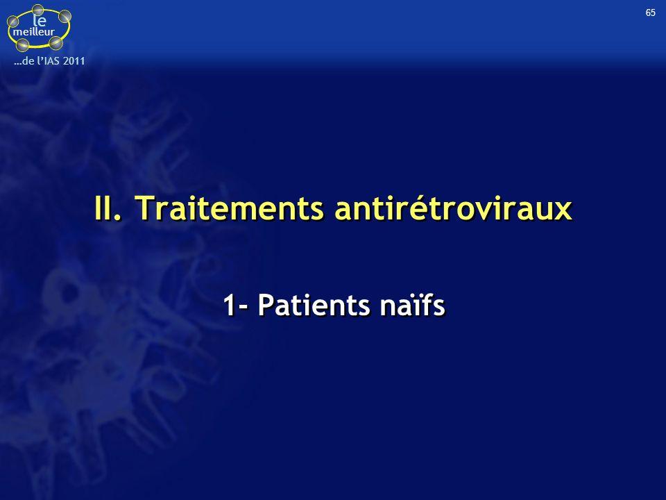 le meilleur …de lIAS 2011 II. Traitements antirétroviraux 1- Patients naïfs 65