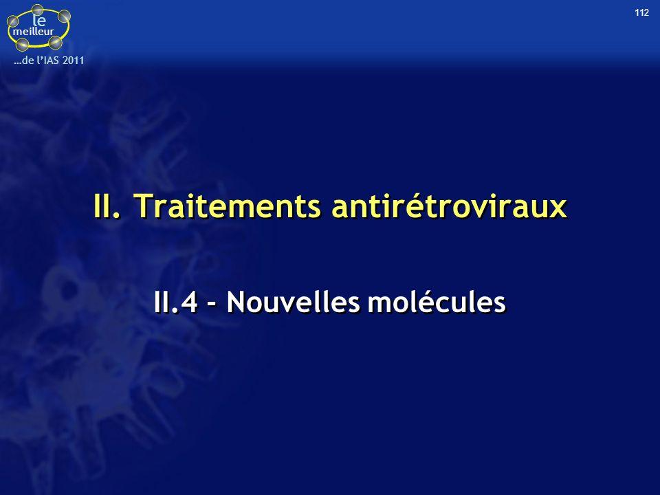 le meilleur …de lIAS 2011 II. Traitements antirétroviraux II.4 - Nouvelles molécules 112
