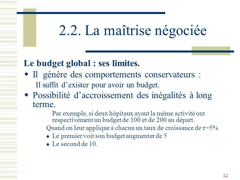 12 2.2. La maîtrise négociée Le budget global : ses limites. Il génère des comportements conservateurs : Il suffit dexister pour avoir un budget. Poss
