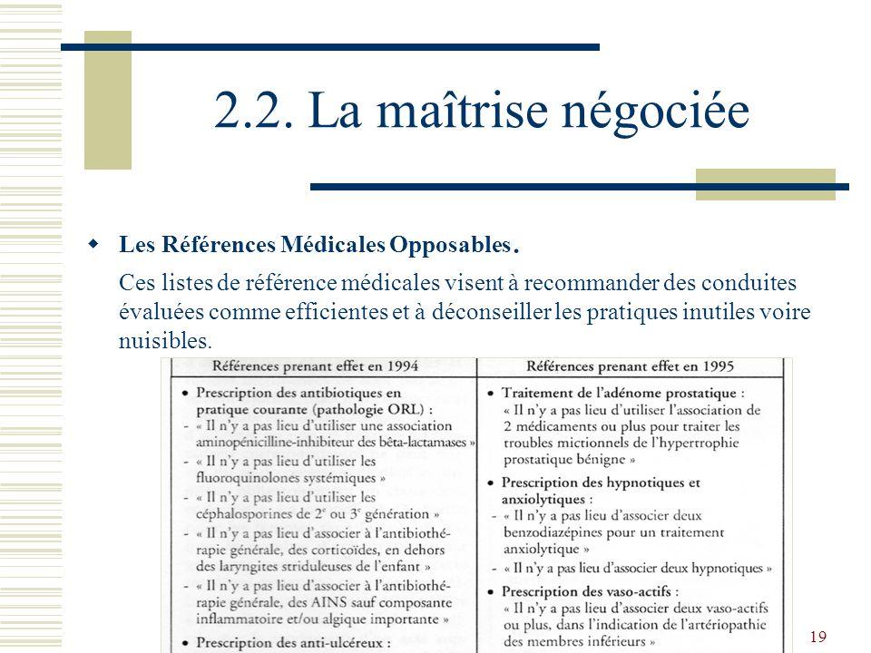 19 2.2. La maîtrise négociée Les Références Médicales Opposables. Ces listes de référence médicales visent à recommander des conduites évaluées comme