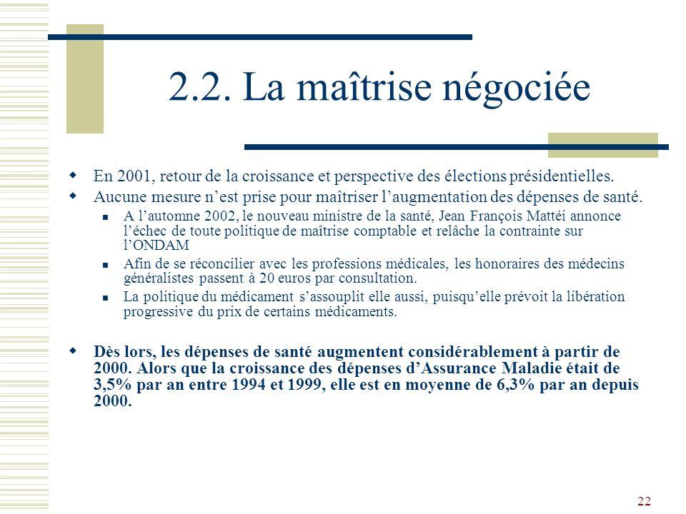 22 2.2. La maîtrise négociée En 2001, retour de la croissance et perspective des élections présidentielles. Aucune mesure nest prise pour maîtriser la