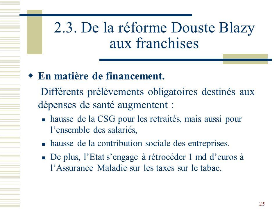 25 2.3. De la réforme Douste Blazy aux franchises En matière de financement. Différents prélèvements obligatoires destinés aux dépenses de santé augme