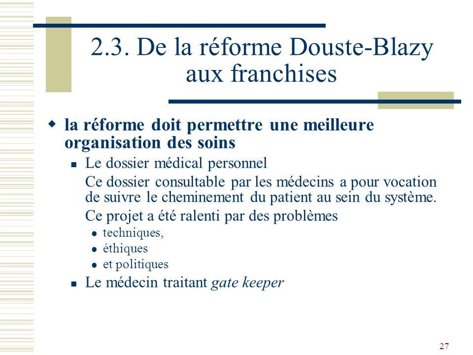 27 2.3. De la réforme Douste-Blazy aux franchises la réforme doit permettre une meilleure organisation des soins Le dossier médical personnel Ce dossi