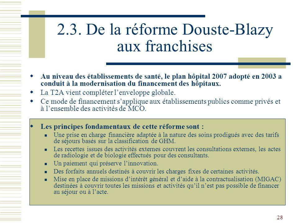 28 2.3. De la réforme Douste-Blazy aux franchises Au niveau des établissements de santé, le plan hôpital 2007 adopté en 2003 a conduit à la modernisat