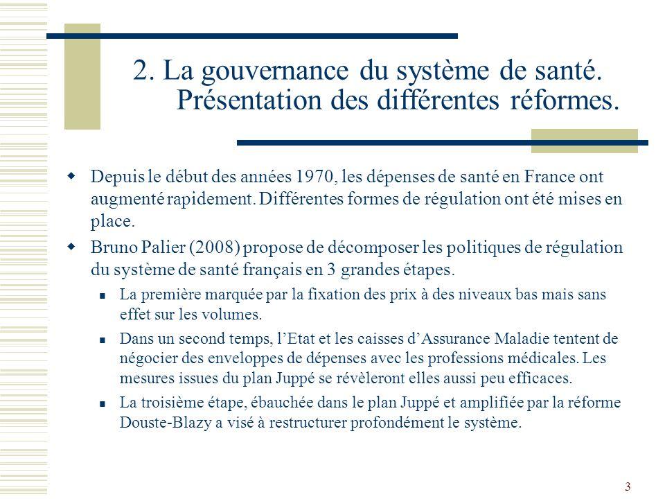 3 2. La gouvernance du système de santé. Présentation des différentes réformes. Depuis le début des années 1970, les dépenses de santé en France ont a