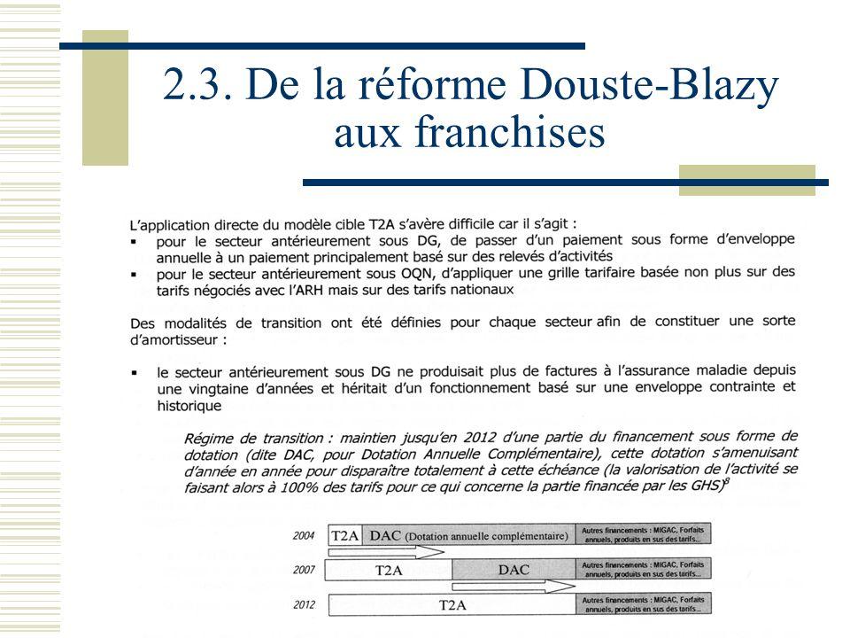 33 2.3. De la réforme Douste-Blazy aux franchises