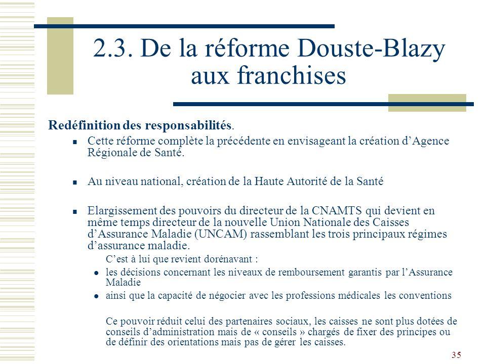 35 2.3. De la réforme Douste-Blazy aux franchises Redéfinition des responsabilités. Cette réforme complète la précédente en envisageant la création dA