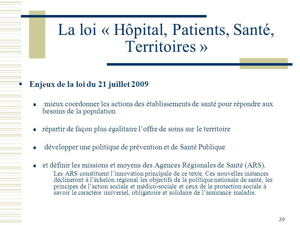 39 La loi « Hôpital, Patients, Santé, Territoires » Enjeux de la loi du 21 juillet 2009 mieux coordonner les actions des établissements de santé pour