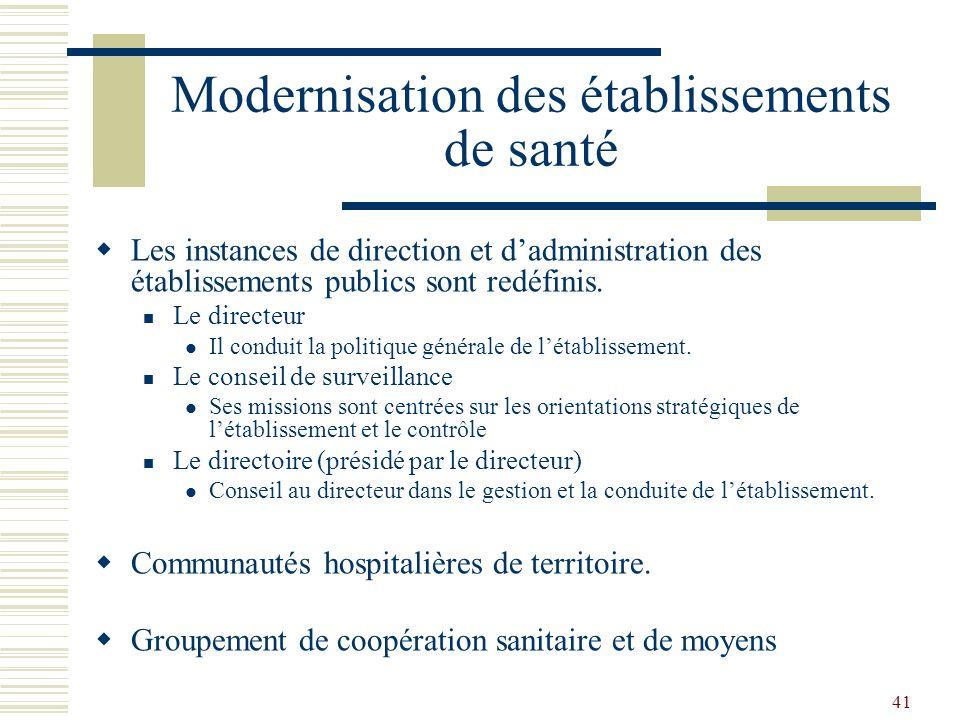 41 Modernisation des établissements de santé Les instances de direction et dadministration des établissements publics sont redéfinis. Le directeur Il
