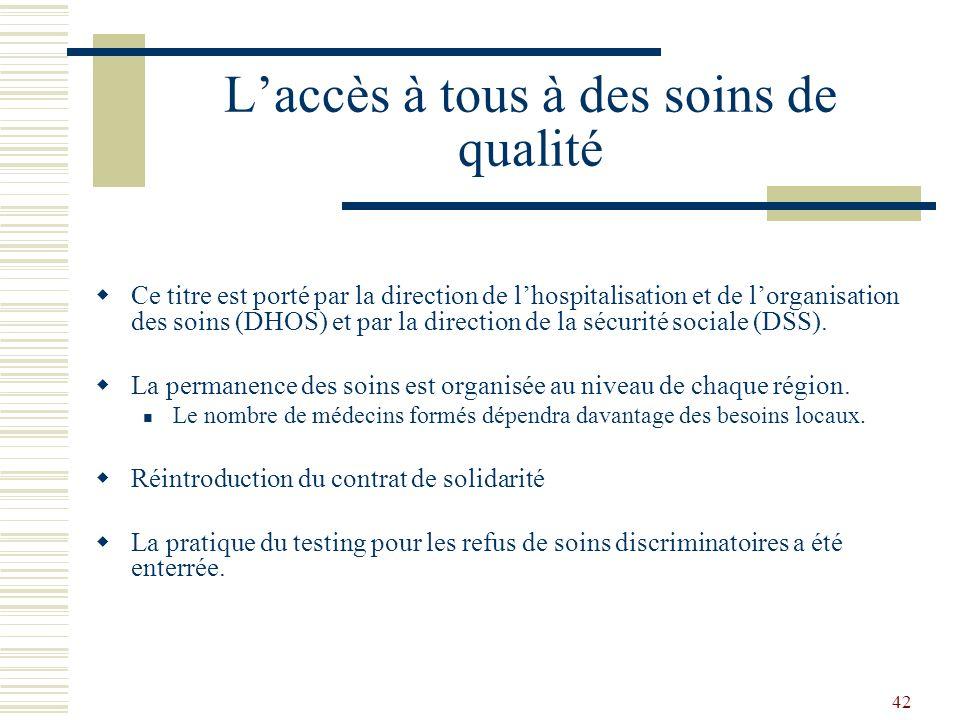42 Laccès à tous à des soins de qualité Ce titre est porté par la direction de lhospitalisation et de lorganisation des soins (DHOS) et par la directi