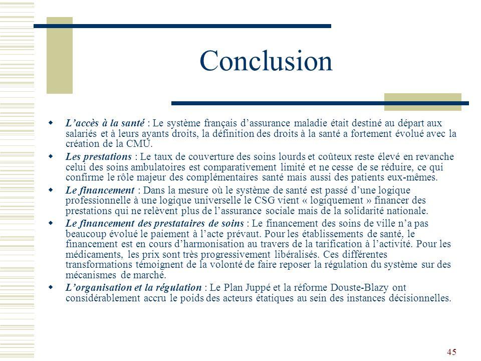 45 Conclusion Laccès à la santé : Le système français dassurance maladie était destiné au départ aux salariés et à leurs ayants droits, la définition