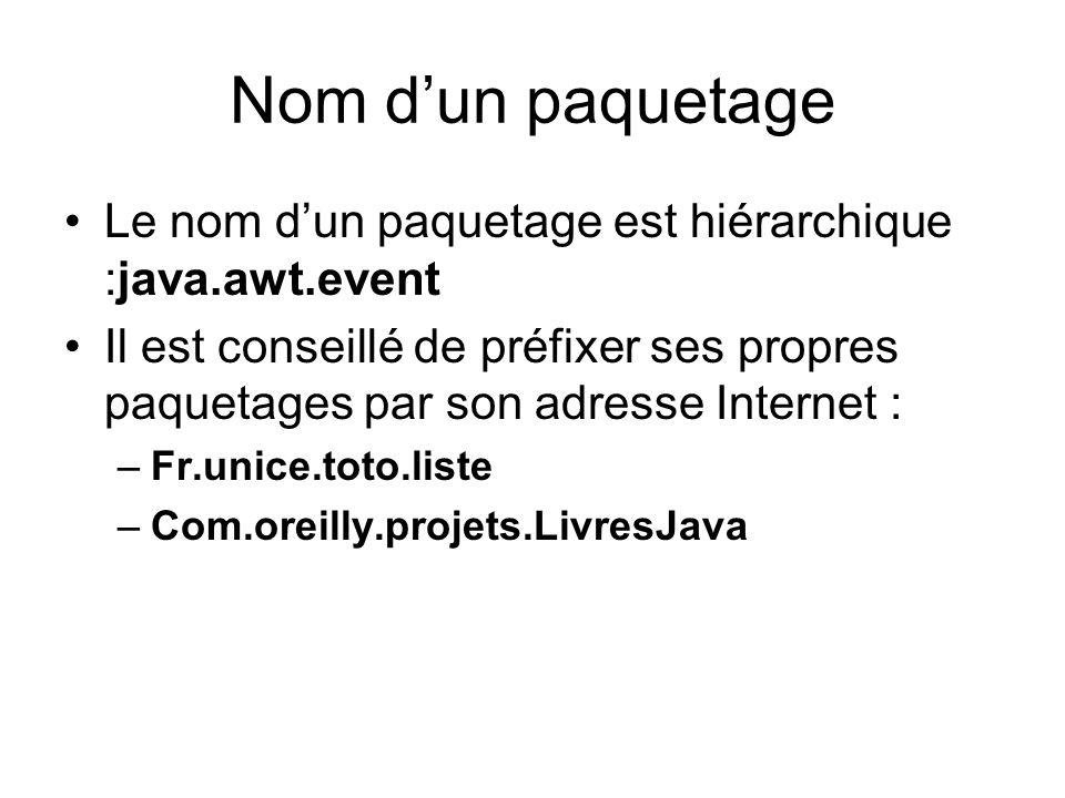 Nom dun paquetage Le nom dun paquetage est hiérarchique :java.awt.event Il est conseillé de préfixer ses propres paquetages par son adresse Internet : –Fr.unice.toto.liste –Com.oreilly.projets.LivresJava