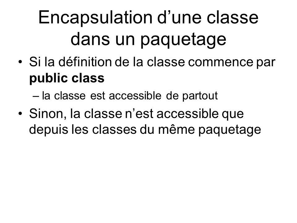 Encapsulation dune classe dans un paquetage Si la définition de la classe commence par public class –la classe est accessible de partout Sinon, la classe nest accessible que depuis les classes du même paquetage