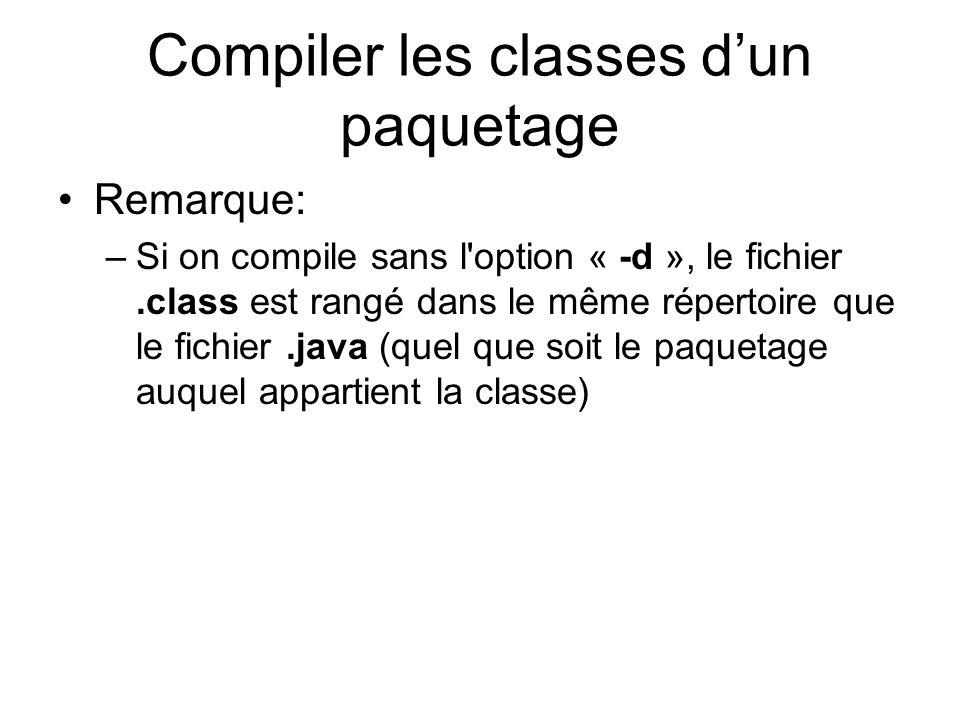 Compiler les classes dun paquetage Remarque: –Si on compile sans l option « -d », le fichier.class est rangé dans le même répertoire que le fichier.java (quel que soit le paquetage auquel appartient la classe)