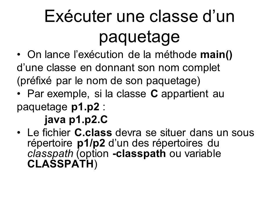 Exécuter une classe dun paquetage On lance lexécution de la méthode main() dune classe en donnant son nom complet (préfixé par le nom de son paquetage) Par exemple, si la classe C appartient au paquetage p1.p2 : java p1.p2.C Le fichier C.class devra se situer dans un sous répertoire p1/p2 dun des répertoires du classpath (option -classpath ou variable CLASSPATH)