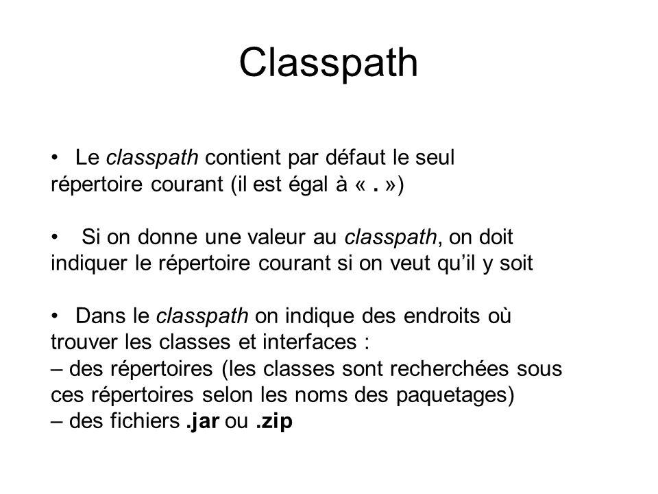 Classpath Le classpath contient par défaut le seul répertoire courant (il est égal à «.