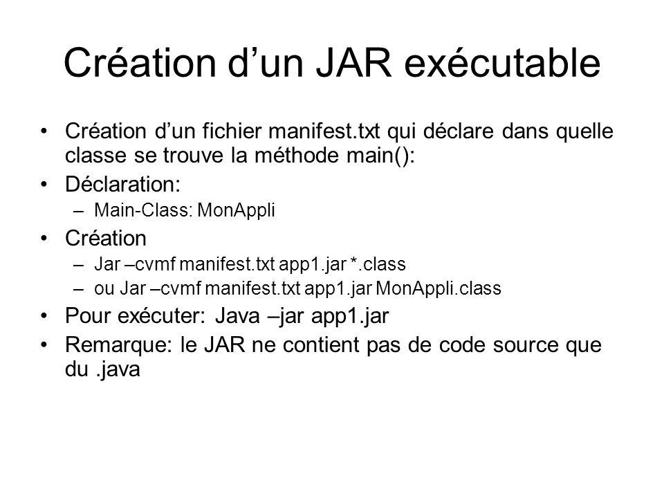 Création dun JAR exécutable Création dun fichier manifest.txt qui déclare dans quelle classe se trouve la méthode main(): Déclaration: –Main-Class: MonAppli Création –Jar –cvmf manifest.txt app1.jar *.class –ou Jar –cvmf manifest.txt app1.jar MonAppli.class Pour exécuter: Java –jar app1.jar Remarque: le JAR ne contient pas de code source que du.java