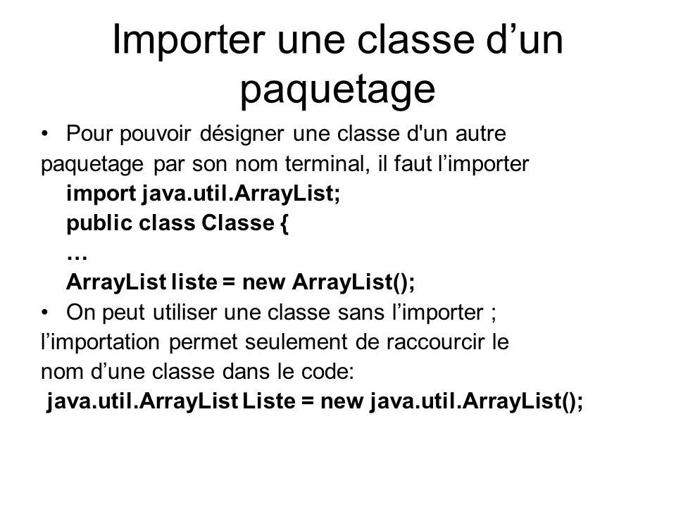 Importer une classe dun paquetage Pour pouvoir désigner une classe d un autre paquetage par son nom terminal, il faut limporter import java.util.ArrayList; public class Classe { … ArrayList liste = new ArrayList(); On peut utiliser une classe sans limporter ; limportation permet seulement de raccourcir le nom dune classe dans le code: java.util.ArrayList Liste = new java.util.ArrayList();
