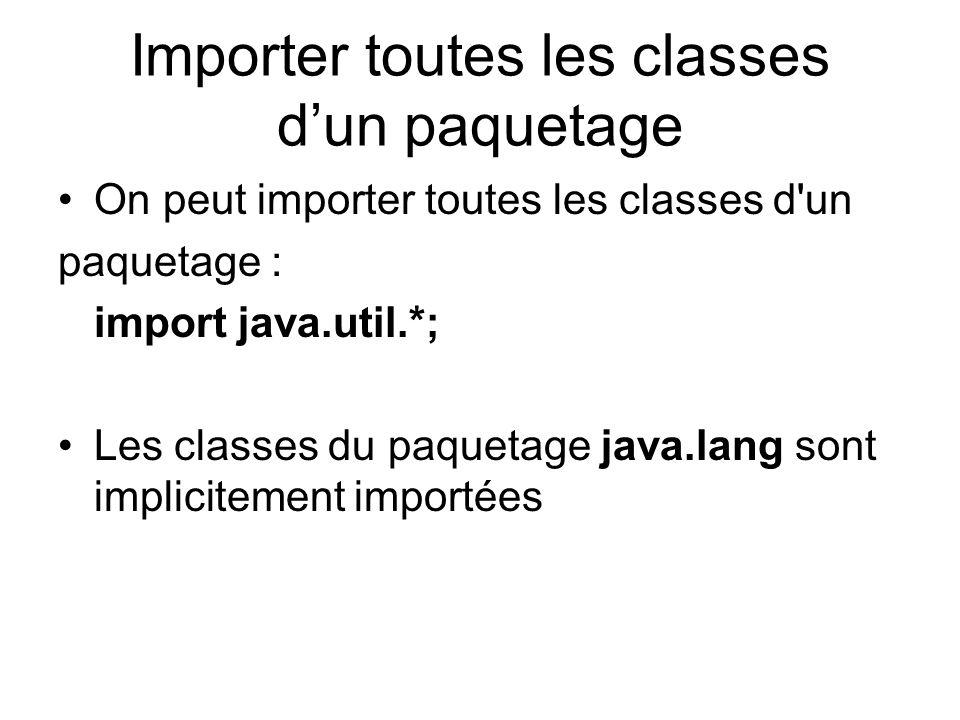 Importer toutes les classes dun paquetage On peut importer toutes les classes d un paquetage : import java.util.*; Les classes du paquetage java.lang sont implicitement importées