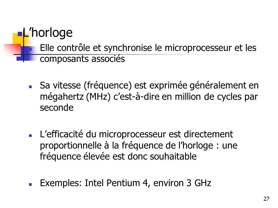 27 Lhorloge Elle contrôle et synchronise le microprocesseur et les composants associés Sa vitesse (fréquence) est exprimée généralement en mégahertz (