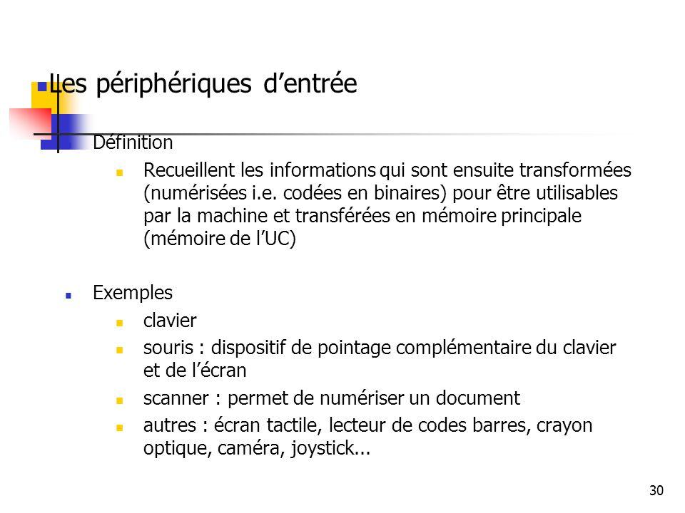 30 Les périphériques dentrée Définition Recueillent les informations qui sont ensuite transformées (numérisées i.e. codées en binaires) pour être util