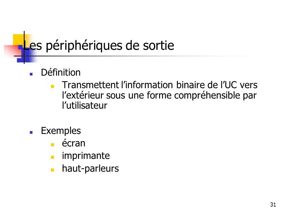 31 Les périphériques de sortie Définition Transmettent linformation binaire de lUC vers lextérieur sous une forme compréhensible par lutilisateur Exem