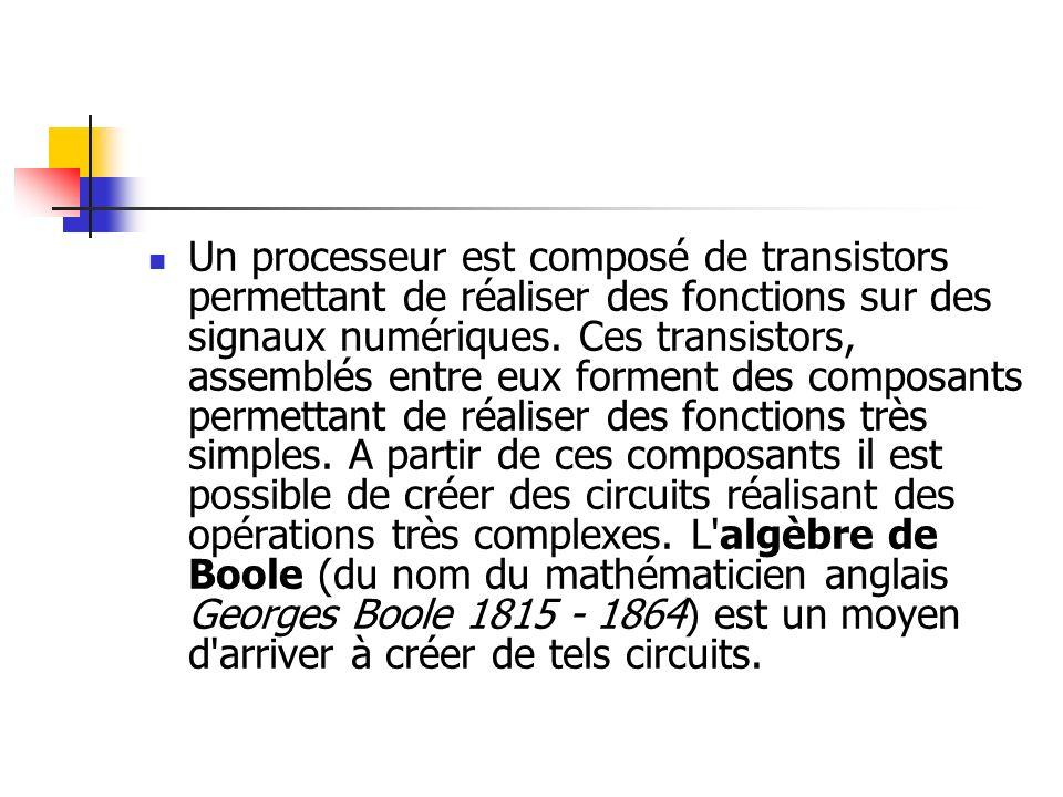 Un processeur est composé de transistors permettant de réaliser des fonctions sur des signaux numériques. Ces transistors, assemblés entre eux forment