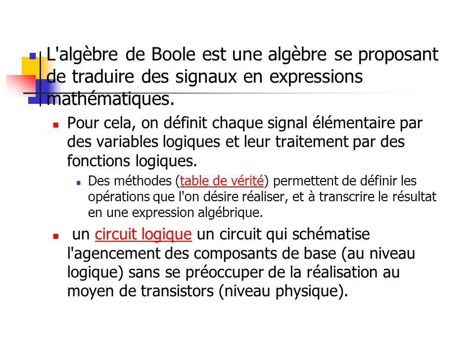 L'algèbre de Boole est une algèbre se proposant de traduire des signaux en expressions mathématiques. Pour cela, on définit chaque signal élémentaire