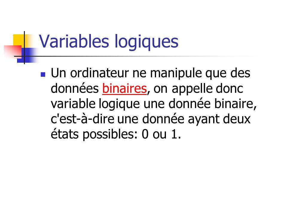 Variables logiques Un ordinateur ne manipule que des données binaires, on appelle donc variable logique une donnée binaire, c'est-à-dire une donnée ay