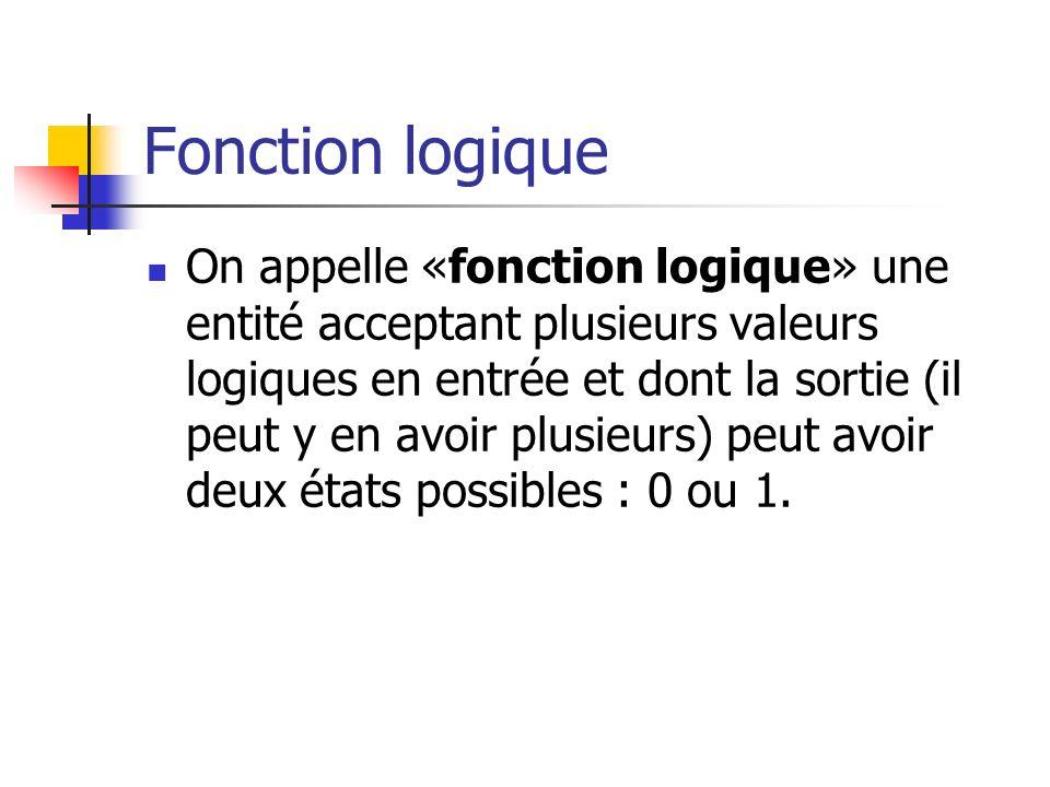 Fonction logique On appelle «fonction logique» une entité acceptant plusieurs valeurs logiques en entrée et dont la sortie (il peut y en avoir plusieu
