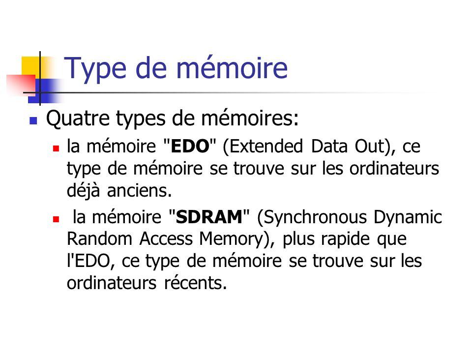 Type de mémoire Quatre types de mémoires: la mémoire