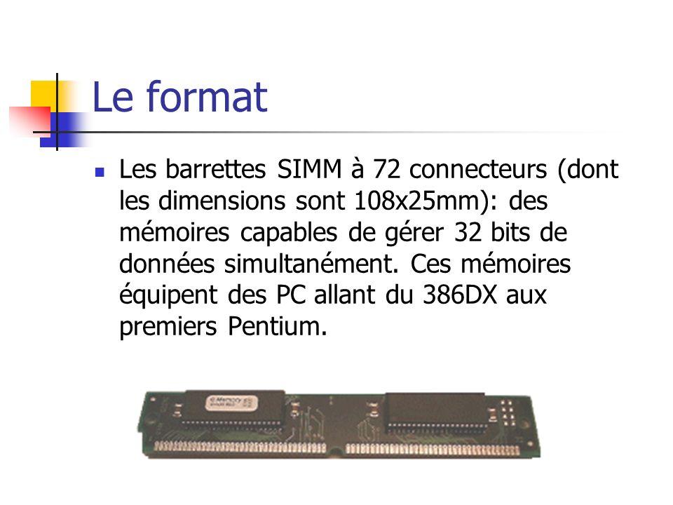 Le format Les barrettes SIMM à 72 connecteurs (dont les dimensions sont 108x25mm): des mémoires capables de gérer 32 bits de données simultanément. Ce