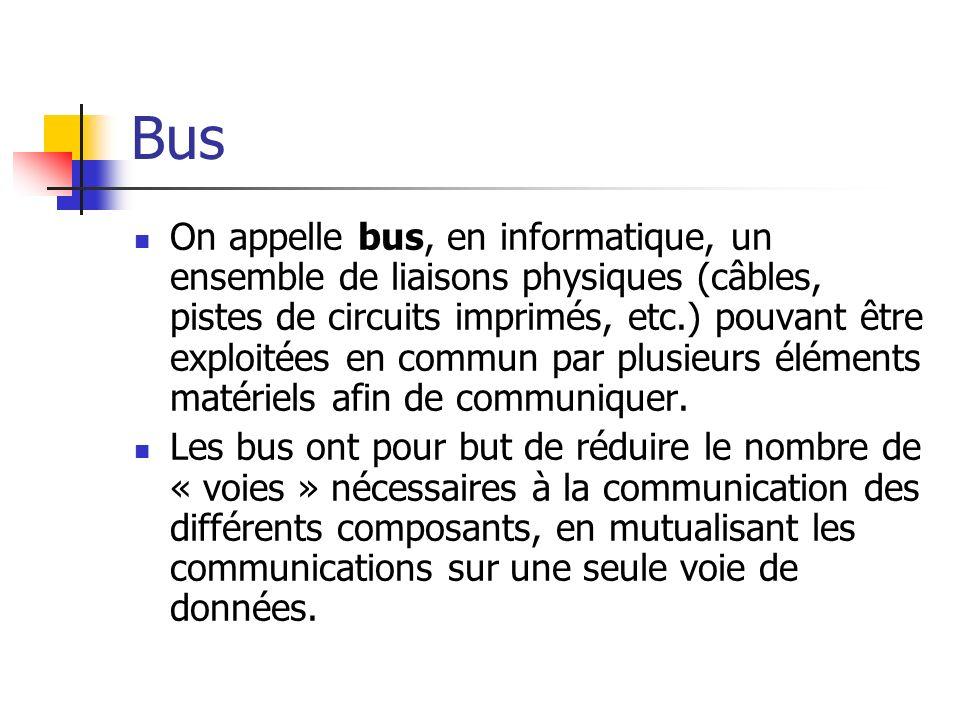 Bus On appelle bus, en informatique, un ensemble de liaisons physiques (câbles, pistes de circuits imprimés, etc.) pouvant être exploitées en commun p