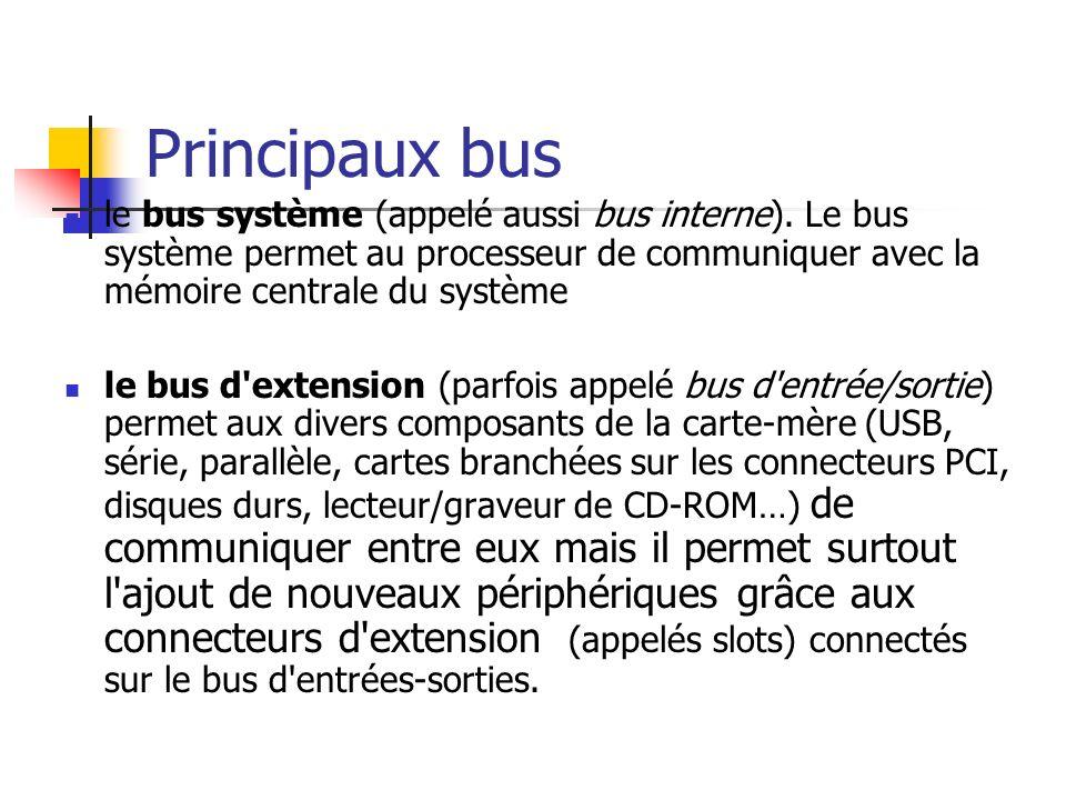 Principaux bus le bus système (appelé aussi bus interne). Le bus système permet au processeur de communiquer avec la mémoire centrale du système le bu