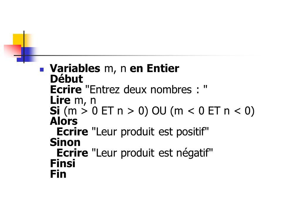 Variables m, n en Entier Début Ecrire