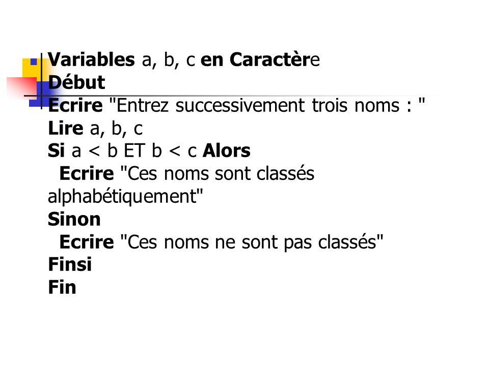 Variables a, b, c en Caractère Début Ecrire