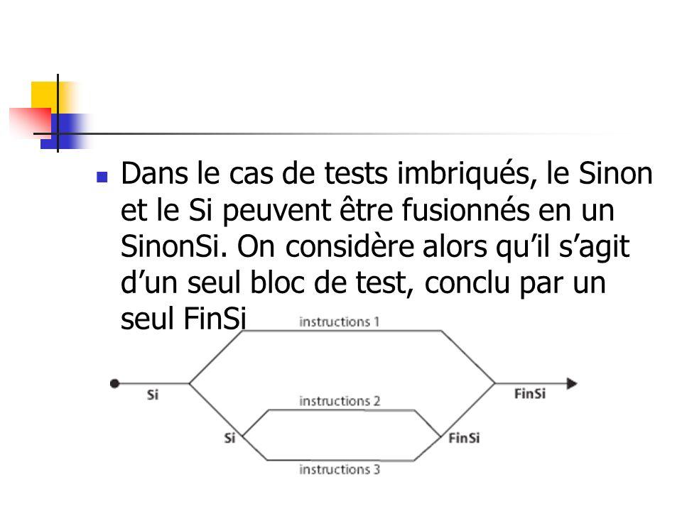 Dans le cas de tests imbriqués, le Sinon et le Si peuvent être fusionnés en un SinonSi. On considère alors quil sagit dun seul bloc de test, conclu pa
