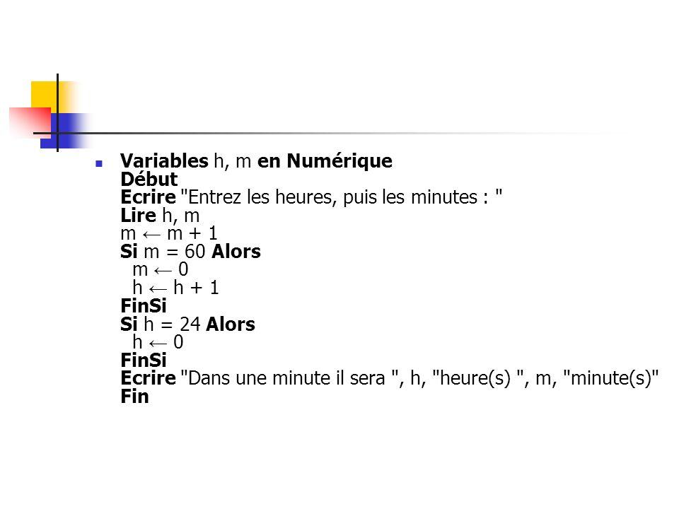 Variables h, m en Numérique Début Ecrire